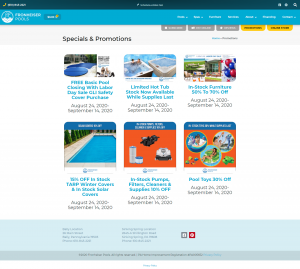 an example of a hot tub and swimming pool landing page for promotions