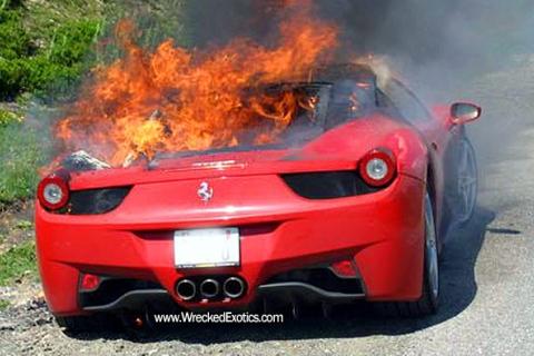 Awesome Second Ferrari 458 Italia On Fire 01