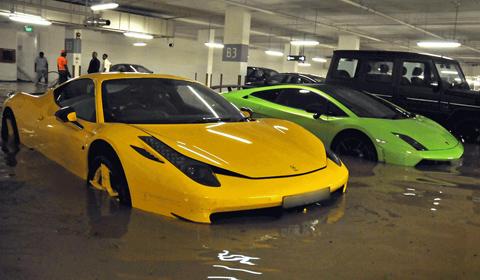 Exotic Cars in Flooded Singapore Garage - GTspirit
