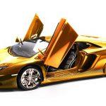 Gold Lamborghini Aventador Model