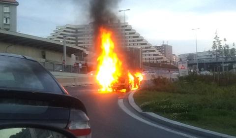 Lamborghini Gallardo on Fire in Prague