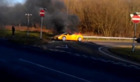 Lamborghini Gallardo Spyder on Fire in Derbyshire