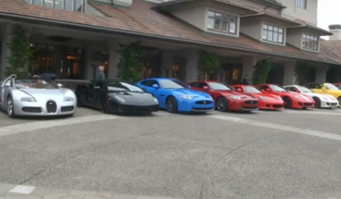 Video Lineup Of Exotic Supercars In Valet