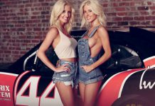 Angela and Amber Cope Pose With NASCAR