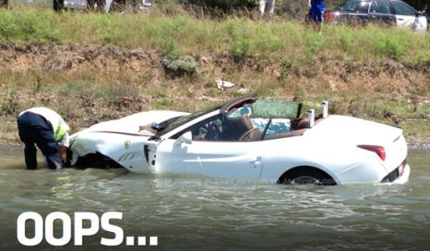 Car Crash Brand New Ferrari California Tries to Swim