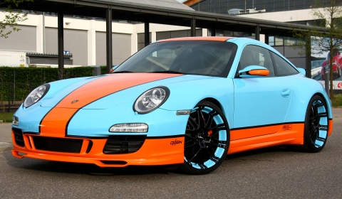 Gulf-themed Porsche 911 on 20 Inch Oxigin Wheels