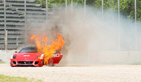 Ferrari 599XX Evolution on Fire at Monza