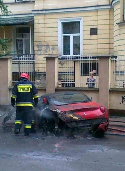 Ferrari California Burns Down in Poland 01