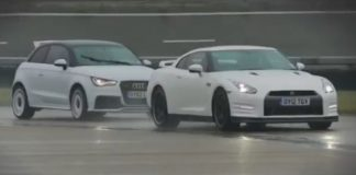 Video Nissan GT-R Takes on Audi A1 Quattro in Slippery Conditions