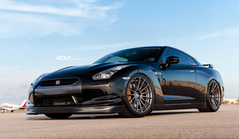 Black Nissan GT-R on ADV15 Track Spec wheels