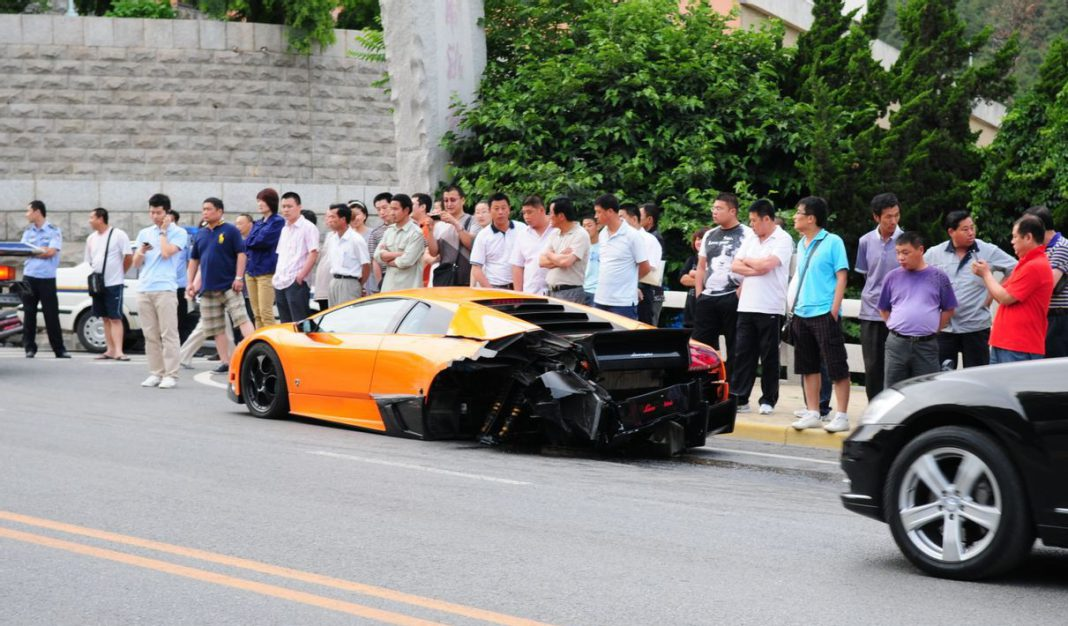 Lamborghini Murcielago with SV Bodykit Wrecked in China