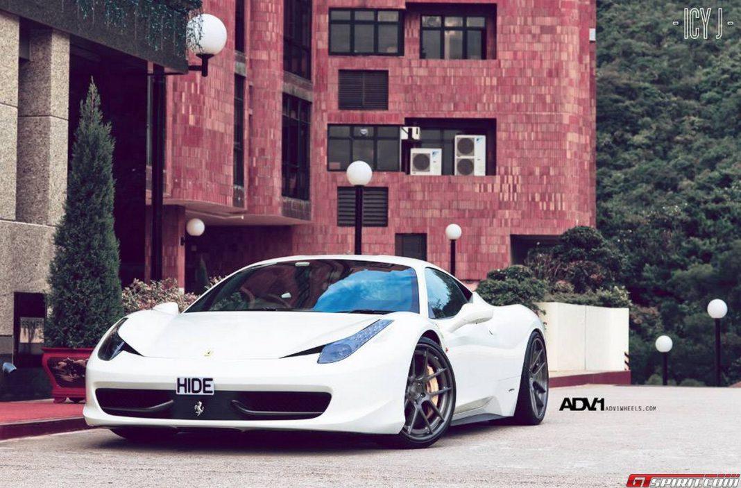 White Ferrari 458 Italia on ADV.1 Wheels