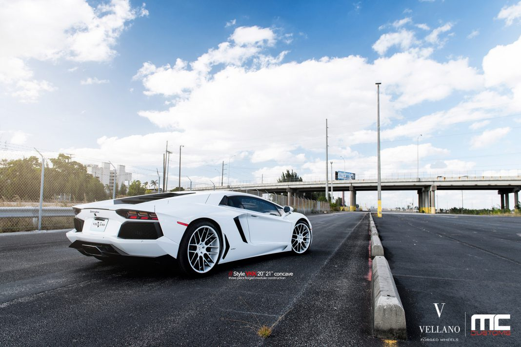 White-on-White Lamborghini Aventador With Vellano VKK Wheels