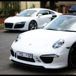 White Audi R8 and Porsche TechART Carrera S Cabiolet in South Africa