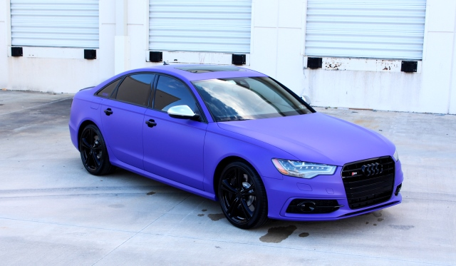 Matte purple wrapped 2013 audi s6 by superior auto design for Dip s luxury motors reviews