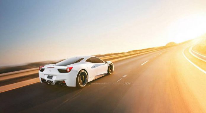 White Ferrari 458 Italia on Matte Black ADV.1 Wheels