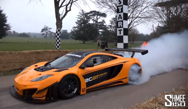 Video: McLaren 12C GT Can-Am Edition Doing Burnouts at Goodwood Preview