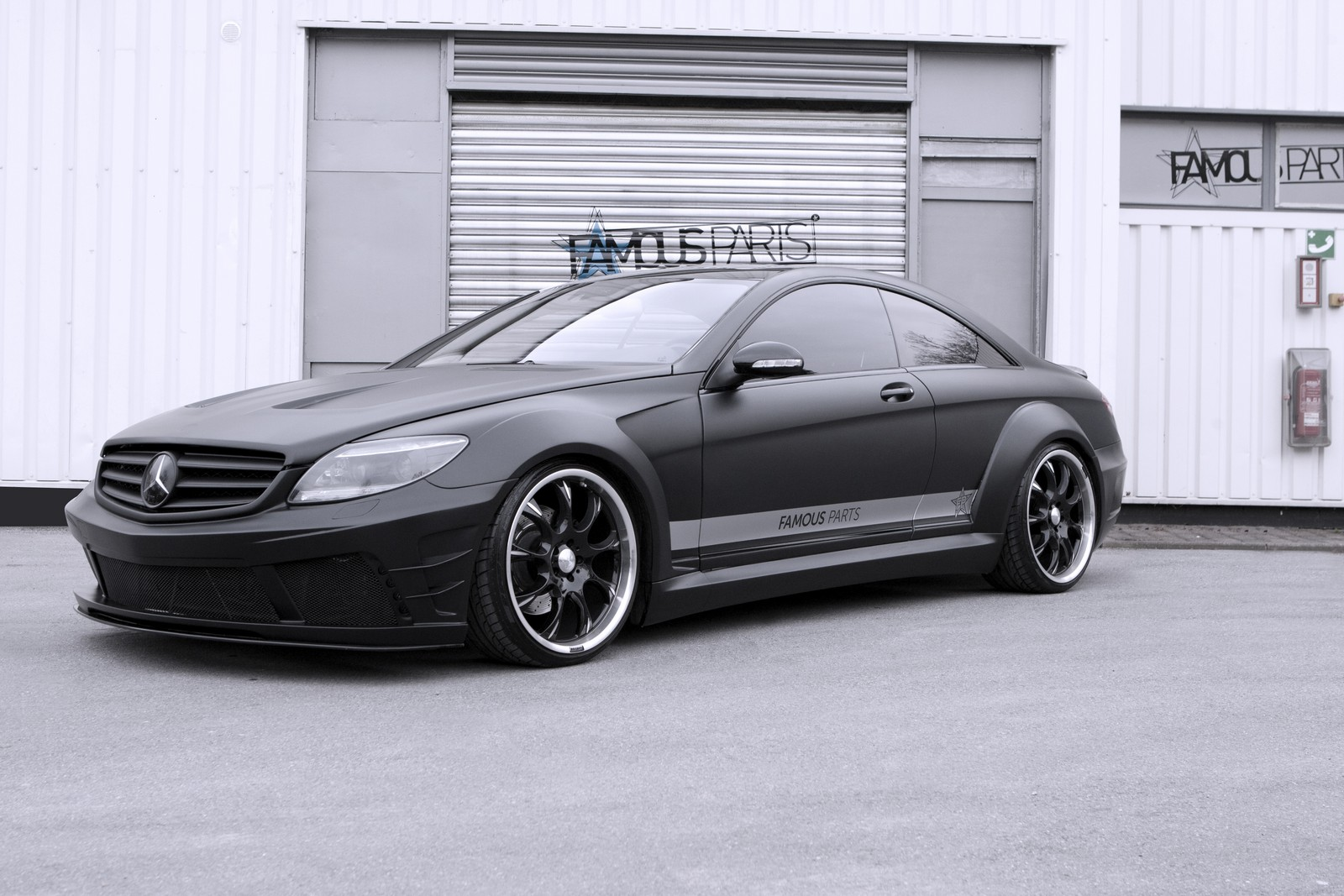 Moonshine matte black mercedes benz cl 500 by famous parts for Mercedes benz used body parts