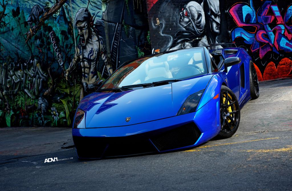 blue lamborghini gallardo lp560 4 spyder with black adv 1 wheels gtspirit. Black Bedroom Furniture Sets. Home Design Ideas