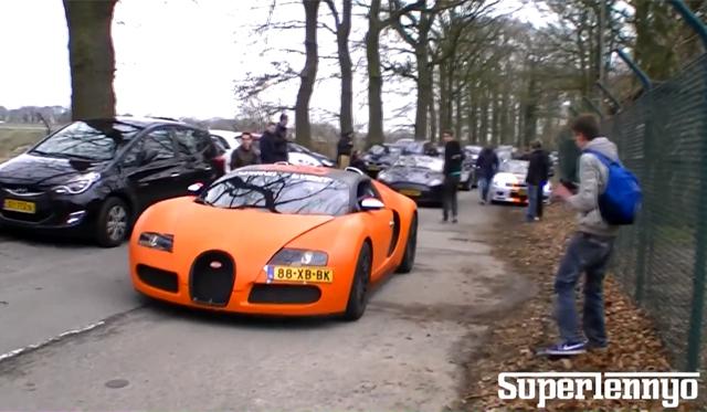 Video: Matte Orange Bugatti Veyron Drag Racing Lamborghini Gallardo