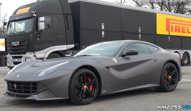 video matte grey ferrari f12 berlinetta racing at monza gtspirit. Black Bedroom Furniture Sets. Home Design Ideas