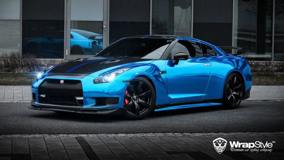 1000HP Nissan GT R Wrapped In Blue Chrome By WrapStyle