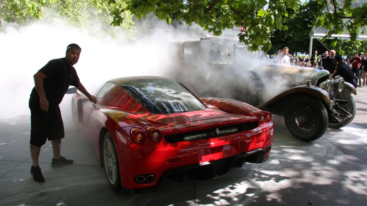 ferrari enzo almost burns alongside 1929 bentley - Ferrari Enzo 2013 White
