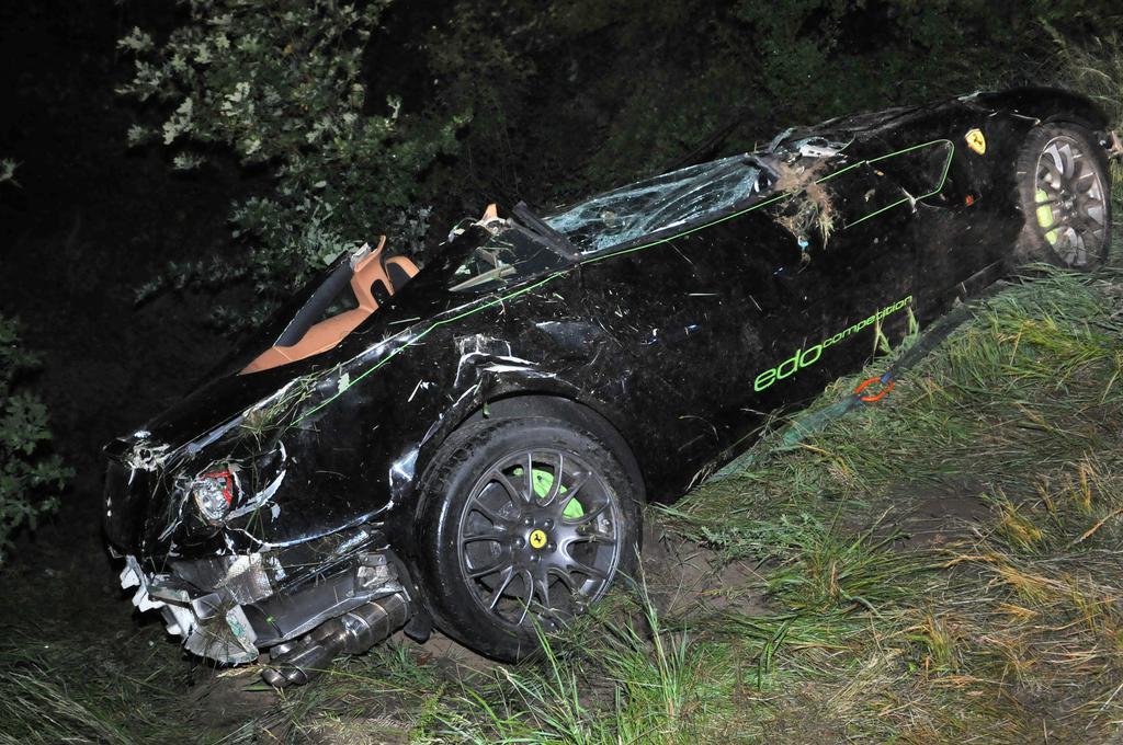 Car Crash: Borrowed Edo Competition Ferrari 599 GTB Crashes in