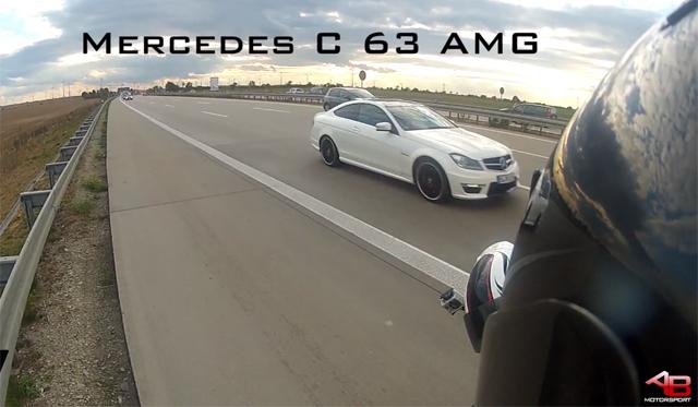 Video: Mercedes-Benz C63 AMG Races Motorbikes on Autobahn