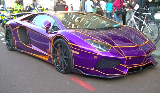 Video: Purple Lamborghini Aventador by Liberty Walk Seized in London