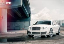 White Bentley Continental Flying Spur With Vellano Wheels