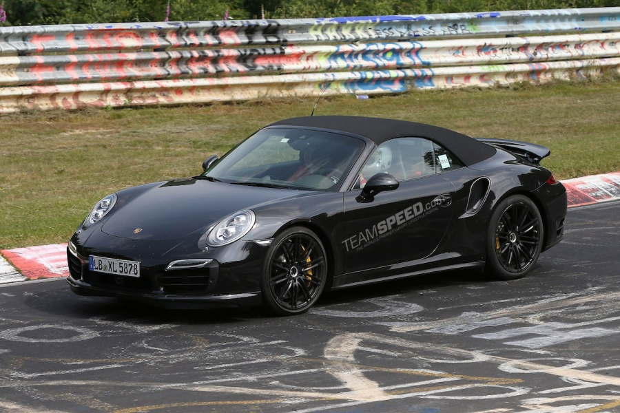 spyshots camo less 2014 porsche 911 turbo cabriolet at the ring