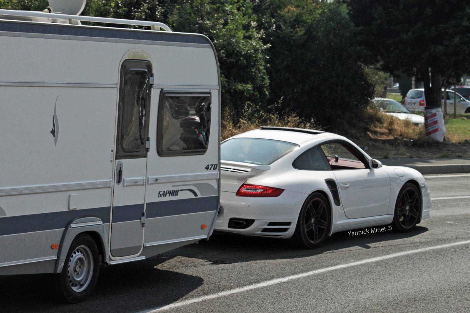 Porsche 911 Turbo Spotted Towing Caravan Gtspirit