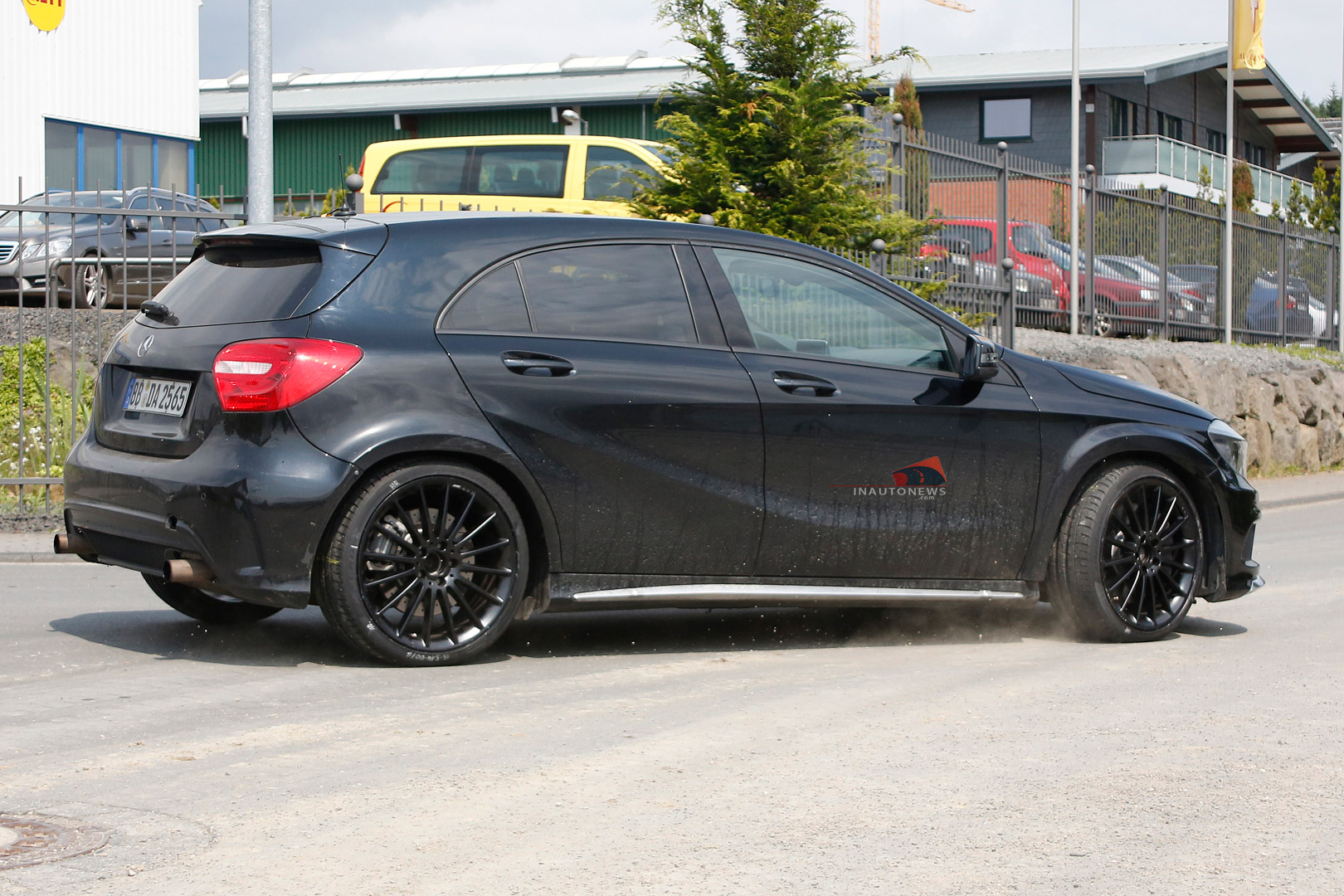 spyshots mercedes benz a45 amg black series spotted at the 39 ring gtspirit. Black Bedroom Furniture Sets. Home Design Ideas