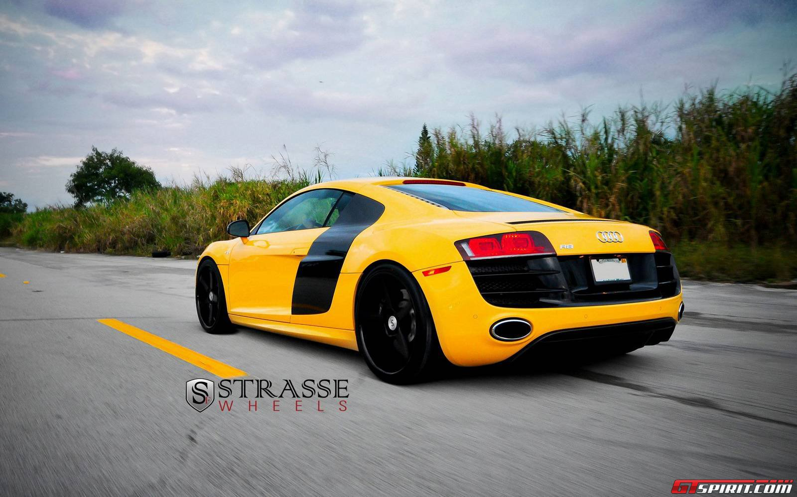 Imola Yellow Audi R8 V10 Plus Lowered On Strasse Forged
