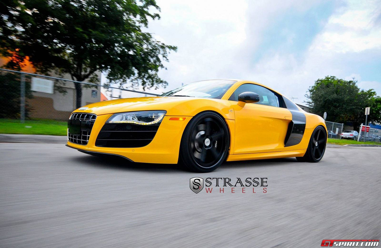 Imola Yellow Audi R8 V10 Plus Lowered On Strasse Forged Wheels Gtspirit