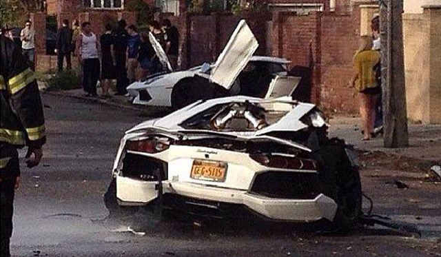 Lamborghini aventador split in two in brooklyn, ny