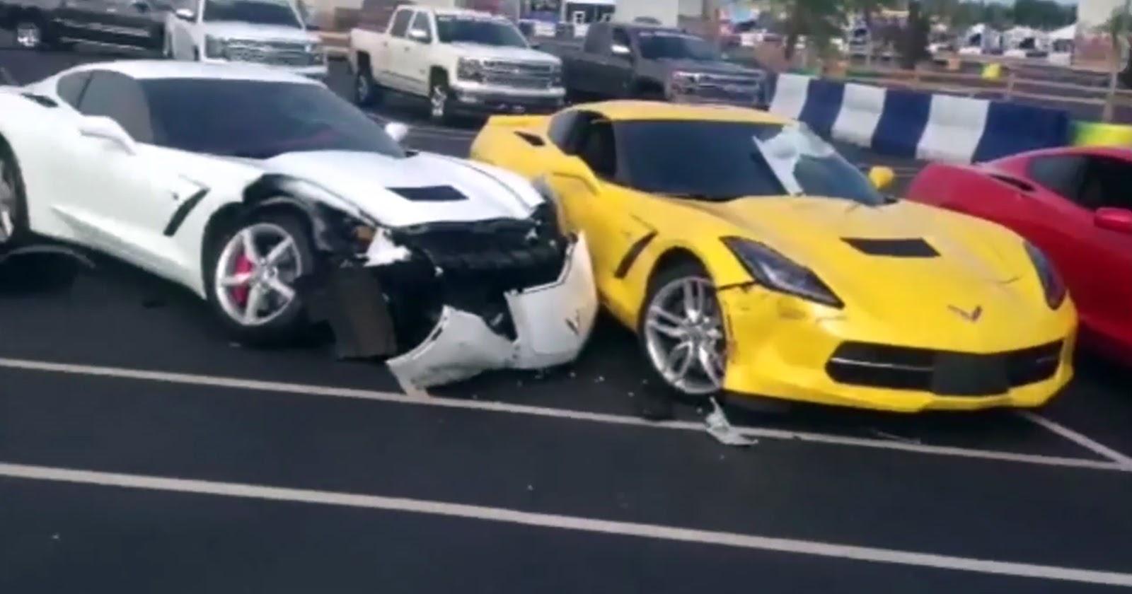 Two 2014 Corvette Stingrays Damaged By Chevy Impala Gtspirit Obdii Wiring Diagram 2008 Chevrolet