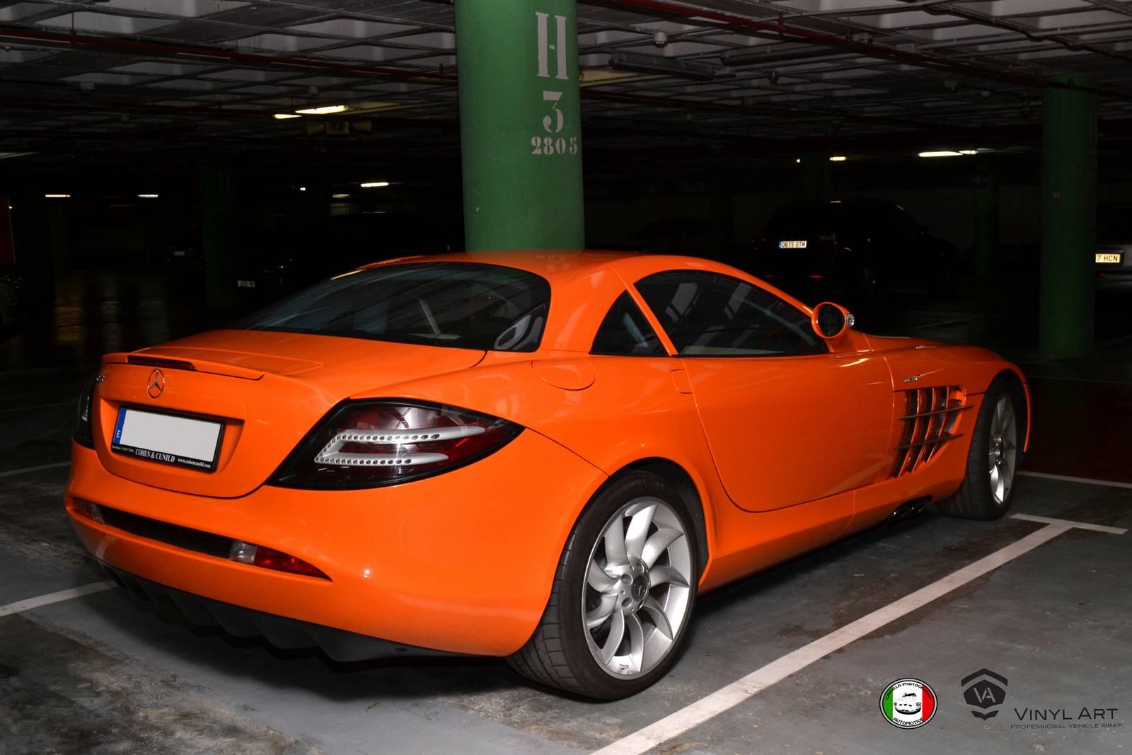 Orange wrapped mercedes benz slr mclaren by vinylart for Mercedes benz orange