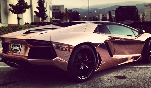 Tyga S Lamborghini Aventador Roadster Receives Rose Gold Wrap Gtspirit