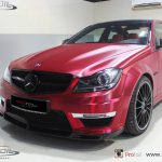 Mercedes-Benz C63 AMG Receives Brushed Red Chrome Wrap