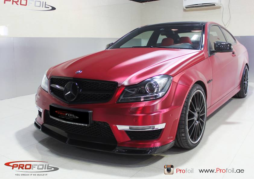 Mercedes benz c63 amg receives brushed red chrome wrap for Mercedes benz chrome