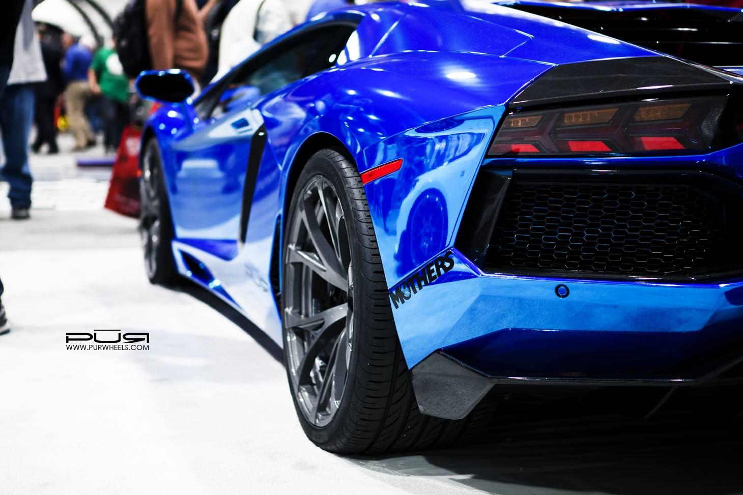 sema 2013 chrome blue lamborghini aventador on pur wheels - Lamborghini Aventador Blue Chrome