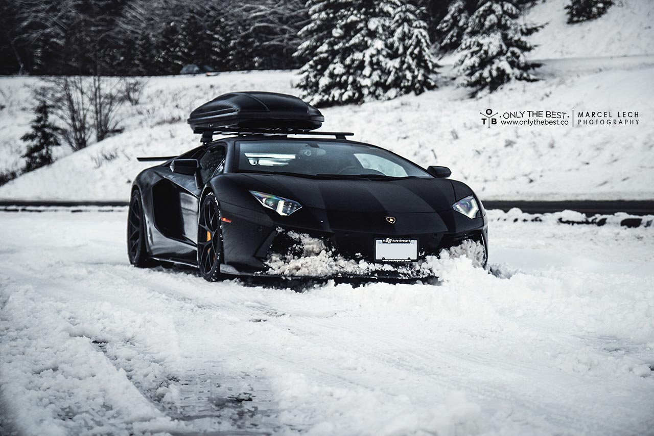First Lamborghini Aventador with Ski-box In The Snow by Marcel Lech Photography + OTB - GTspirit