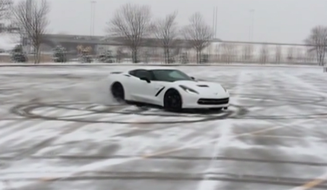 Supercharged 2014 Chevrolet Corvette Stingray Does Donuts