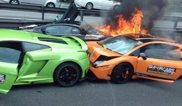 Delightful Two Lamborghini Gallardos And Aventador Crash And Burn In Malaysia Photo