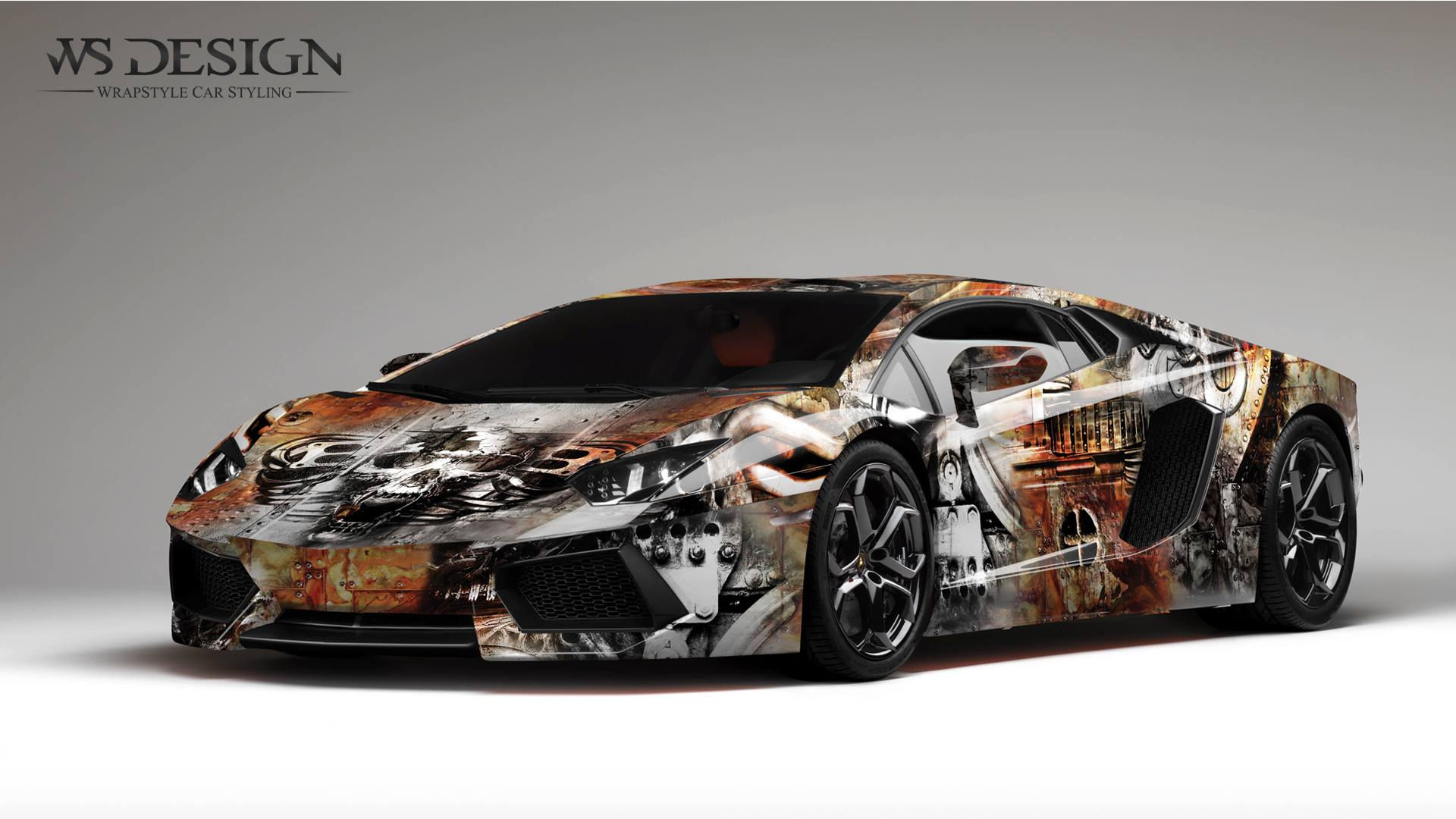 Home Car Wrapping Lamborghini Aventador Art Design Wraps By WS Designs.  Rust Design