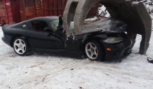 Watch a Dodge Viper Being Completely Destroyed