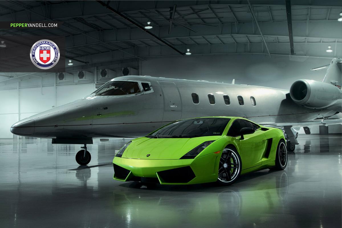 Delightful Green Lamborghini Gallardo Looks Stunning Alongside Private Jet