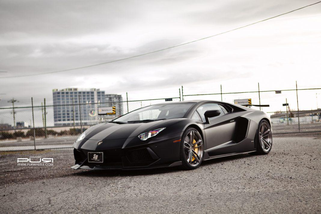 Stealthy Black Lamborghini Aventador Meets PUR Wheels